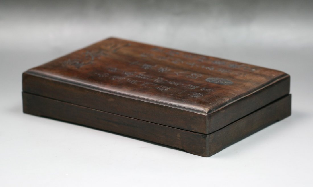 A Chinese Antique Inkstone With Wood Case