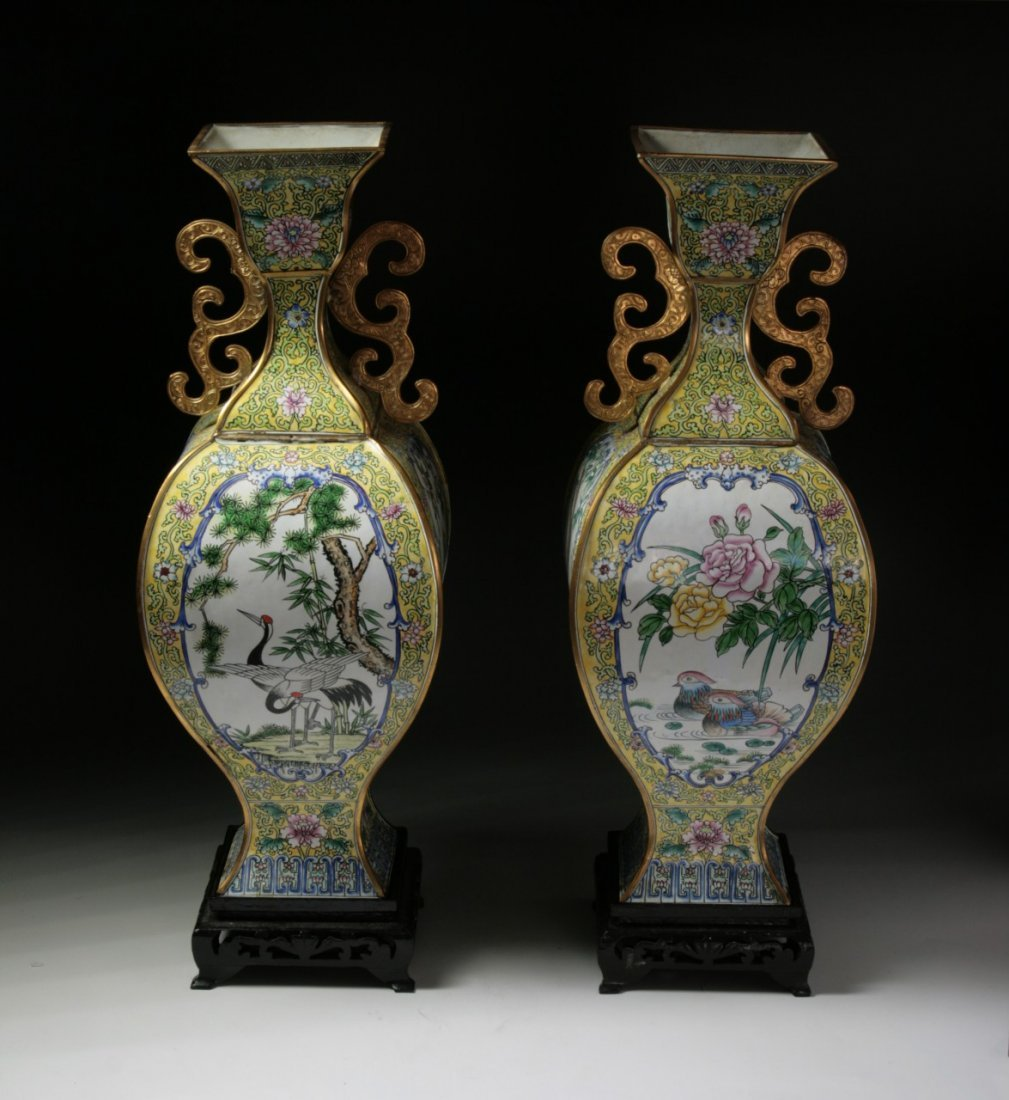 Pair Chinese Antique Cloisonne Bonze Vases