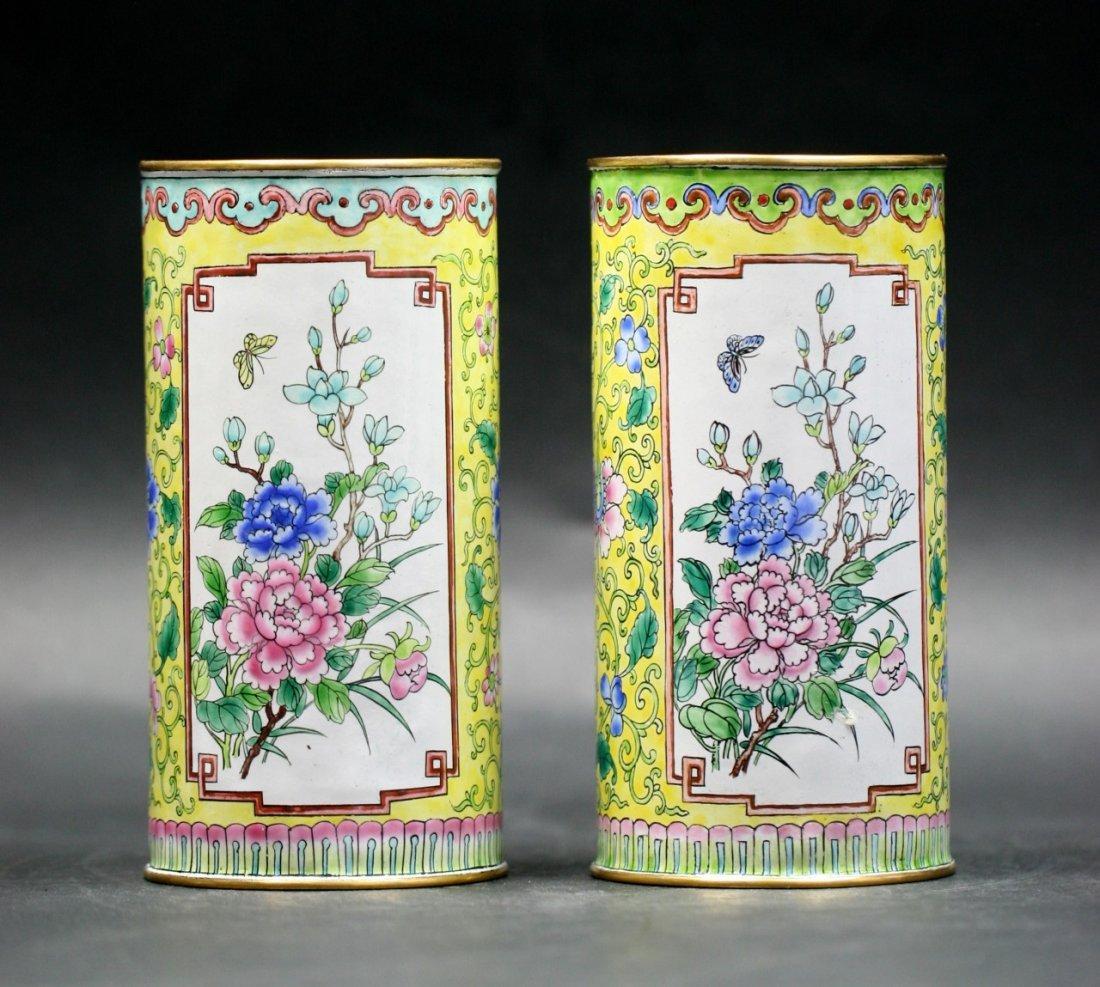 Pair Chinese Antique Cloisonne Bonze Brushpots