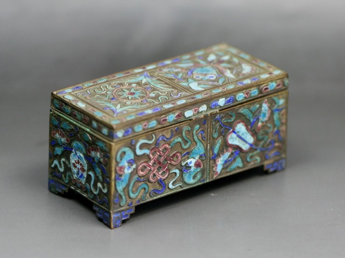 A Chinese Antique Cloisonne Silver Box With Cover