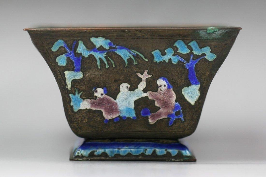 A Chinese Antique Silver Cloisonne Vase