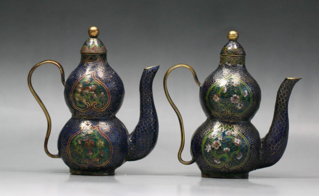 Pair Chinese Antique Cloisonne Bronze Wine Pots