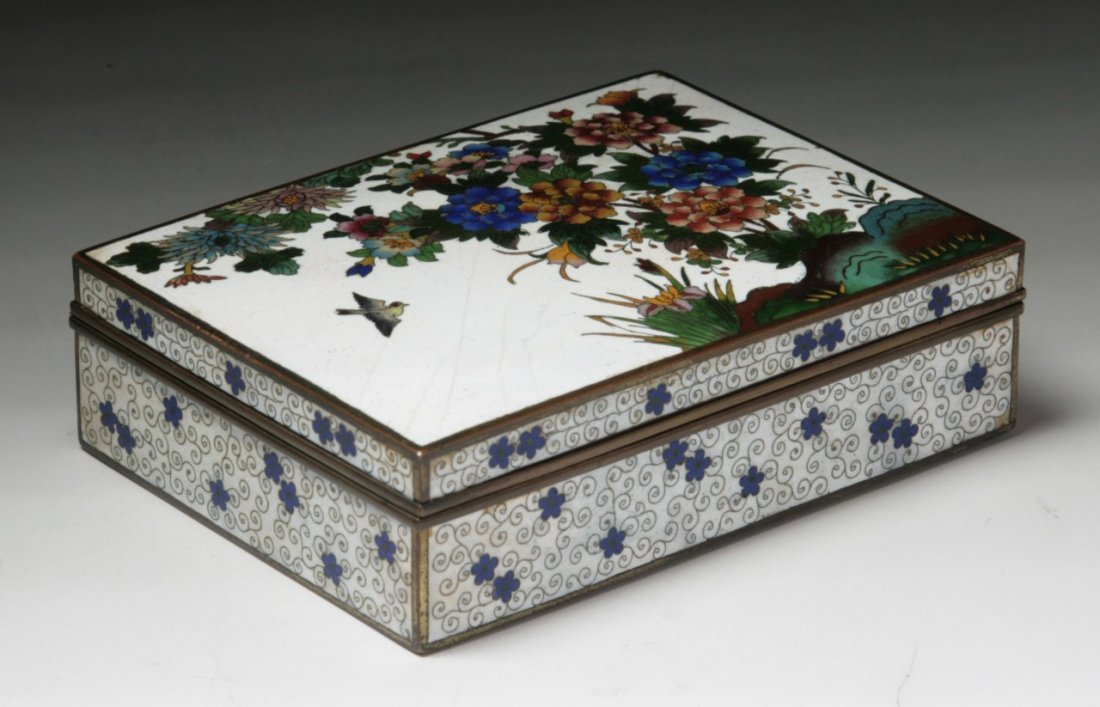A Japanese Silver Ando Cloisonne Box With Cover