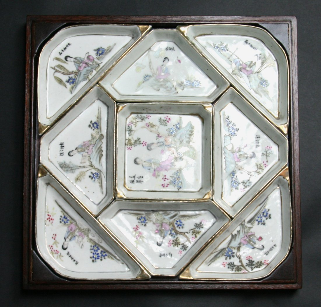 Set Of Chinese Famille Rose Sweet Meat Trays