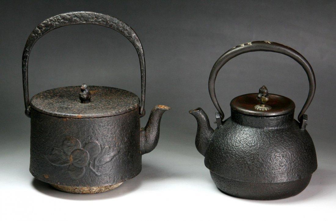 Two (2) Japanese Antique Iron Teapots