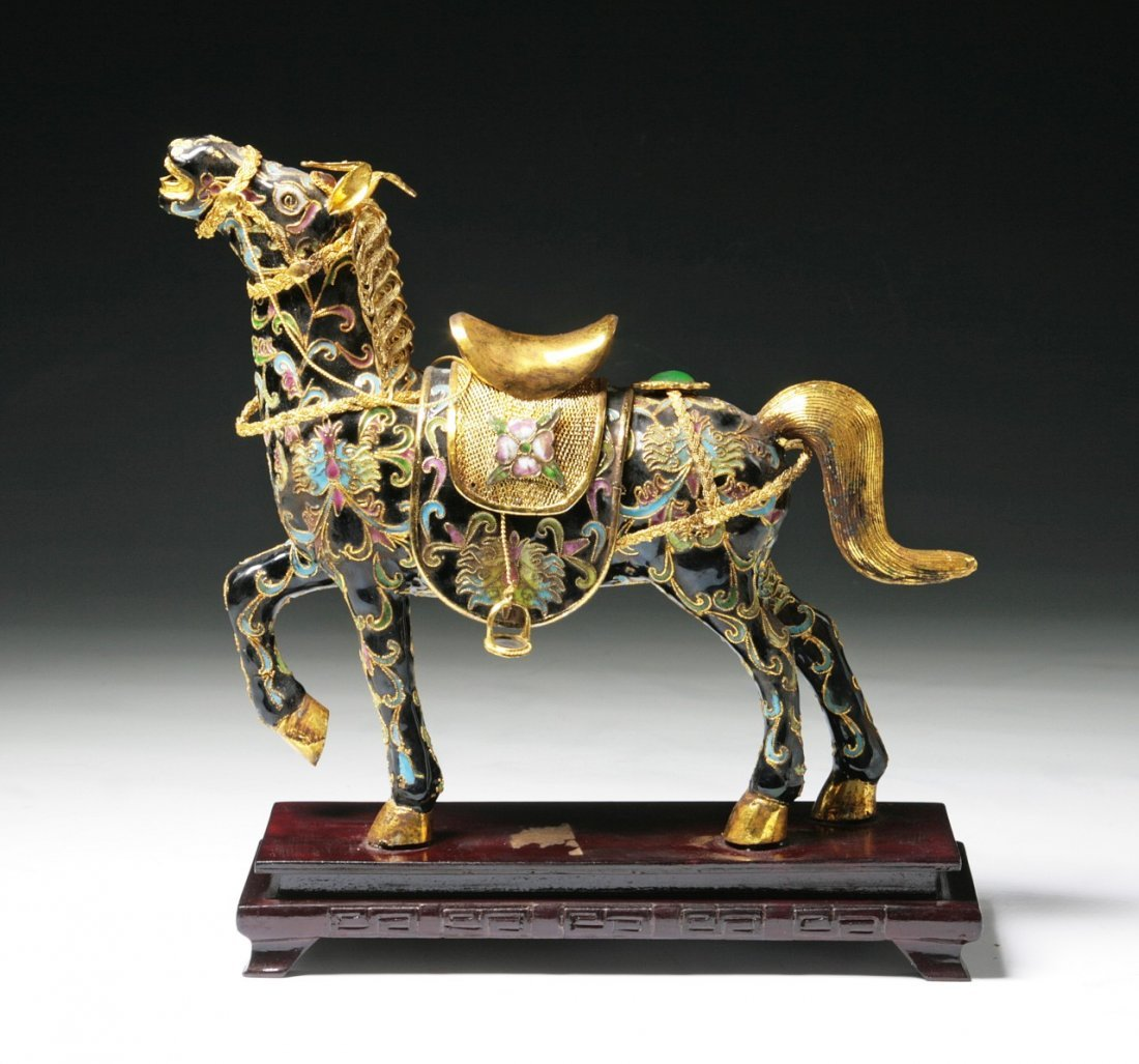 A Chinese Antique Cloisonne Bronze Horse