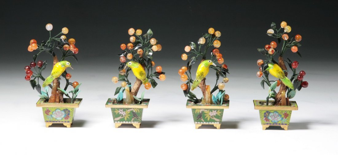 Four (4) Chinese Cloisonne With Jade Bonsai Trees