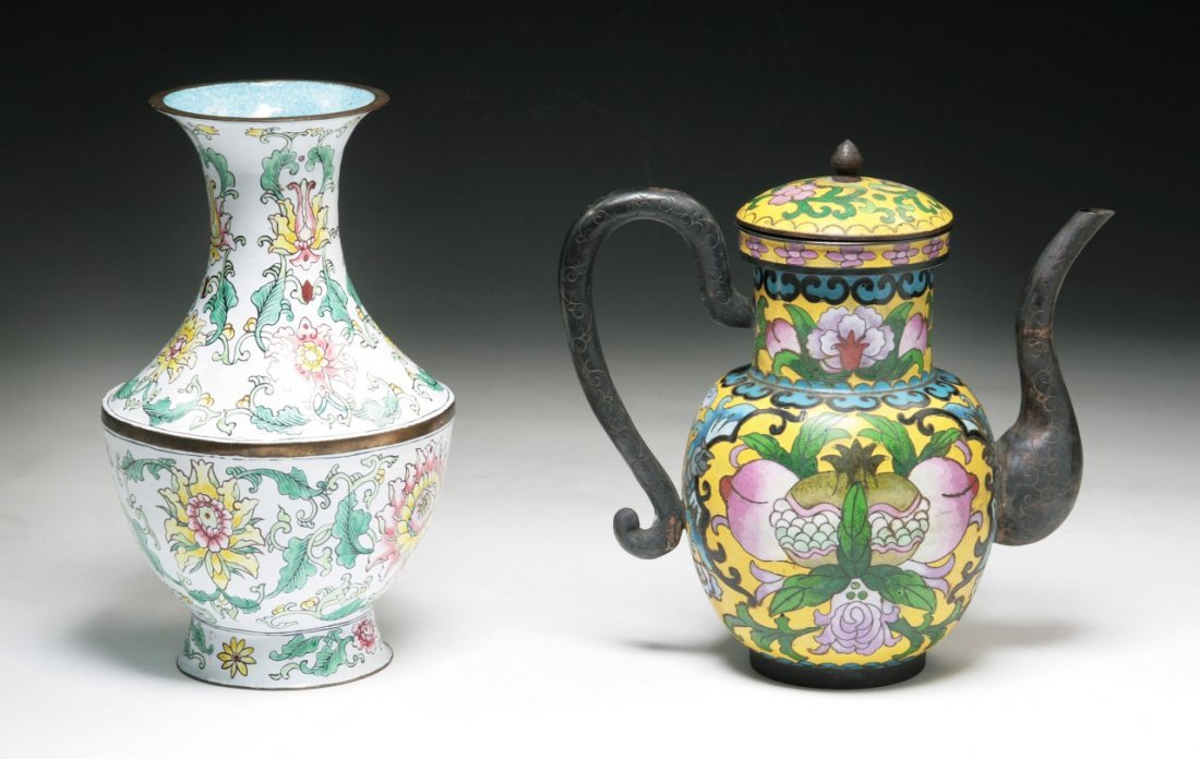 Two (2) Chinese Antique Cloisonne Bronze Items