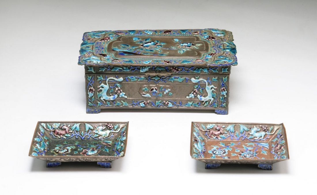Three (3) Chinese Antique Cloisonne Silver Items