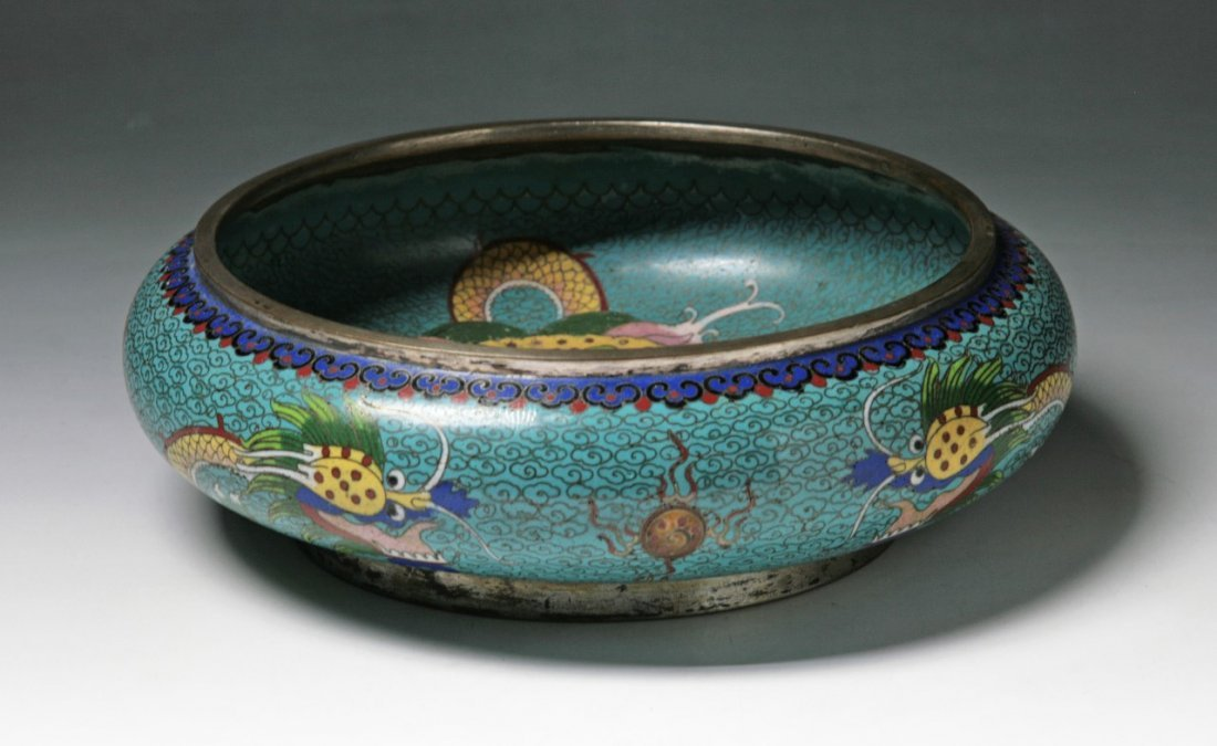 A Chinese Antique Cloisonne Bronze Brushwasher