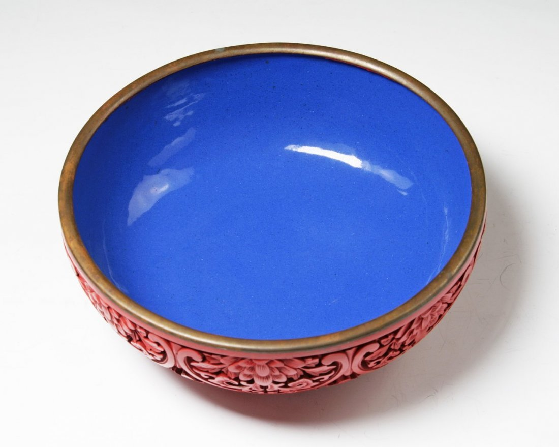 A Chinese Antique Lacquer & Cloisonne Bronze Bowl