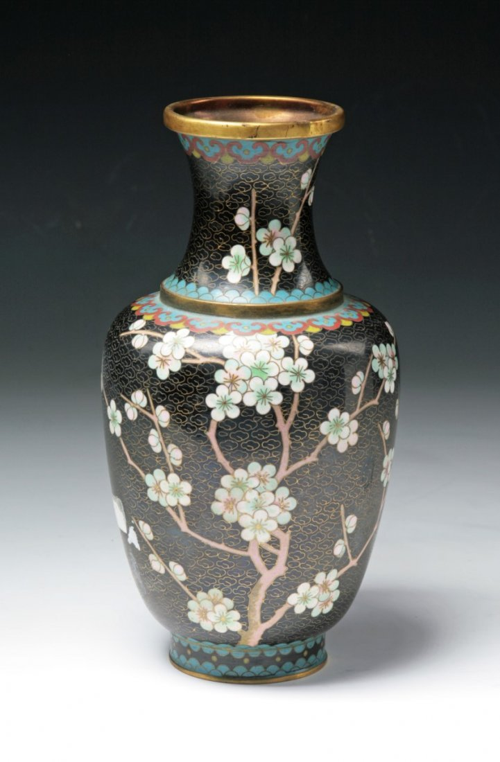 A Chinese Antique Black Cloisonne Bronze Vase