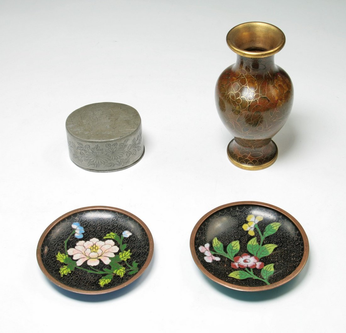 Group Of Four (4) Cloisonne And Bronzes Items