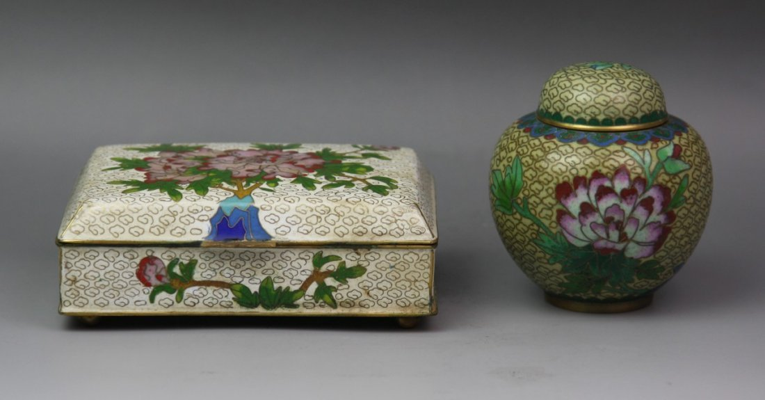 Two Gilt-Bronze Cloisonne Enamel Box And Jar