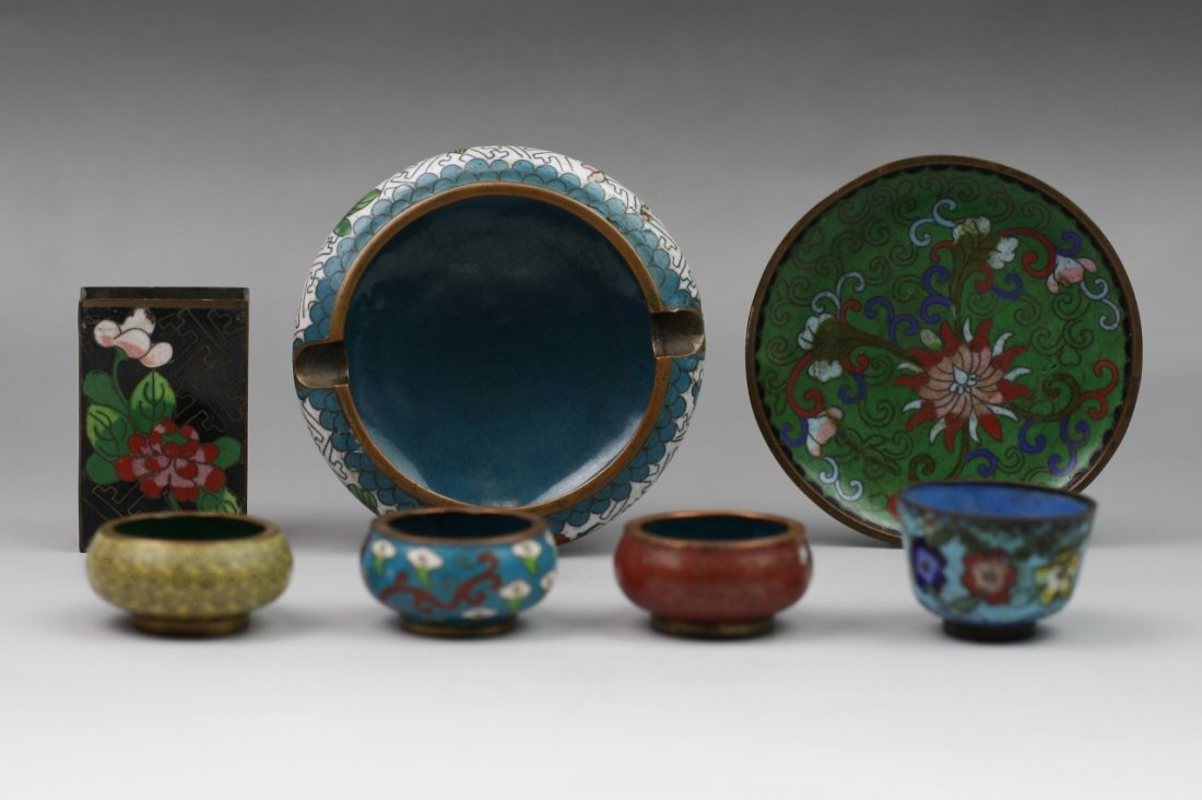 Group of Seven Gilt-Bronze Cloisonne Enamel Items