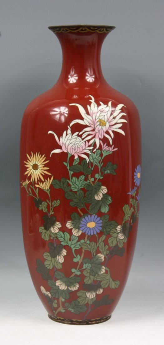 Big Antique Japanese Wired Cloisonne Vase