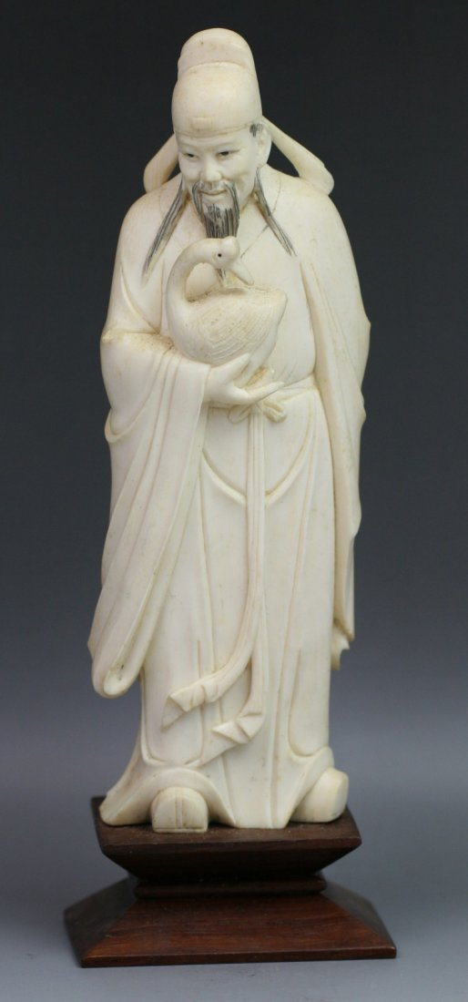 Chinese Antique Carved Ivory Statue: Wang, Xizhi Loves