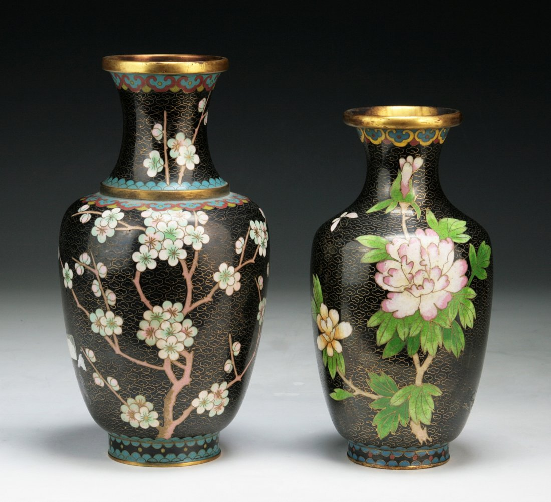 Two (2) Chinese Antique Cloisonne Black Bronze Vases