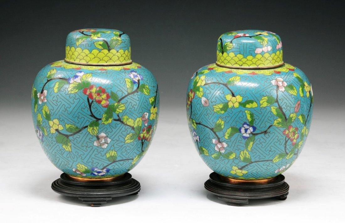 Pair Of Chinese Antique Cloisonne Blue Bronzed Vases