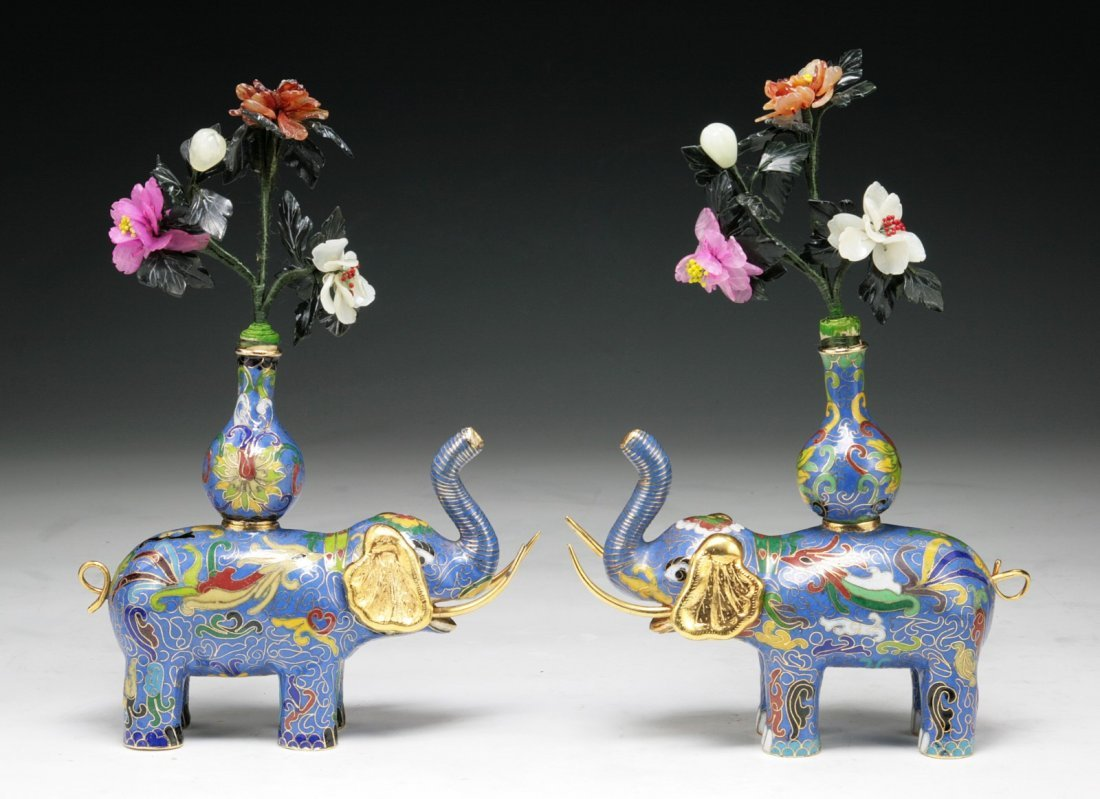 Pair of Chinese Antique Cloisonne Blue Elephants &