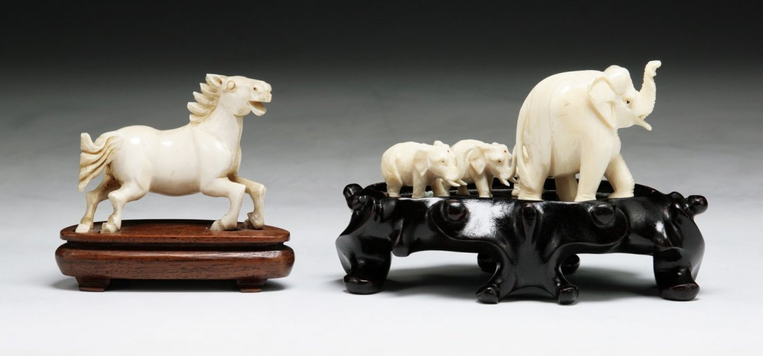 Two (2) Chinese Antique Carved Ivory Groups