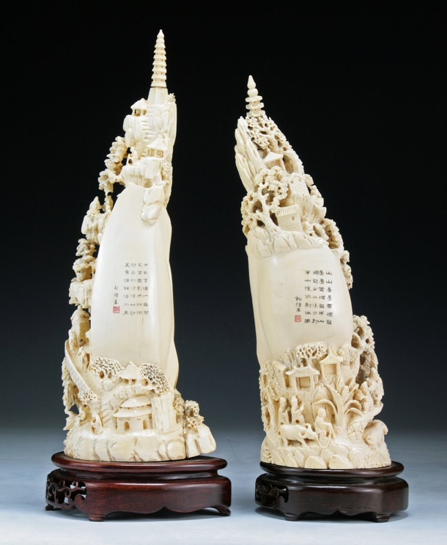 Pair Fine And Big Chinese Carved Ivory 'Clam's Dream'