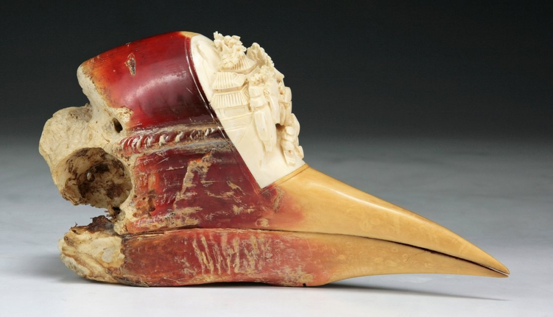 A Chinese Antique Carved Hornbill Skull