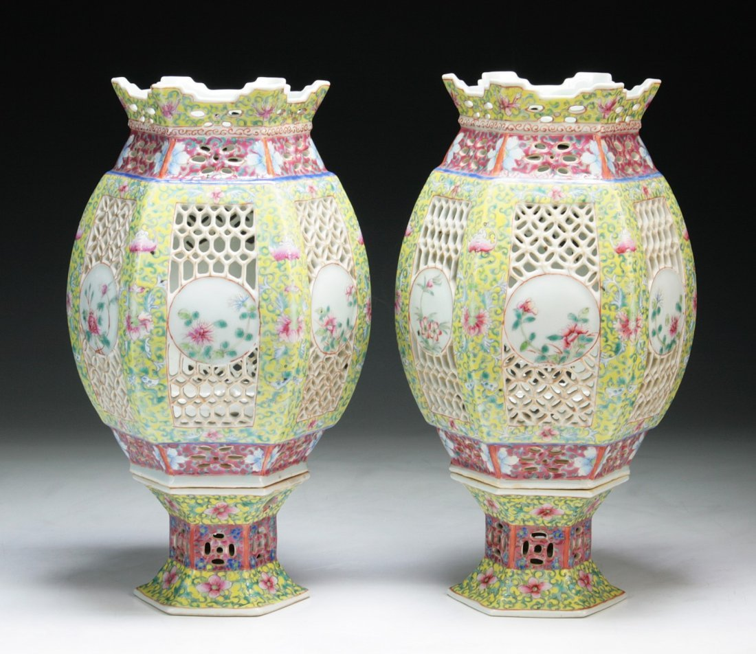 Pair of Chinese Antique Famille Rose Porcelain Lamp
