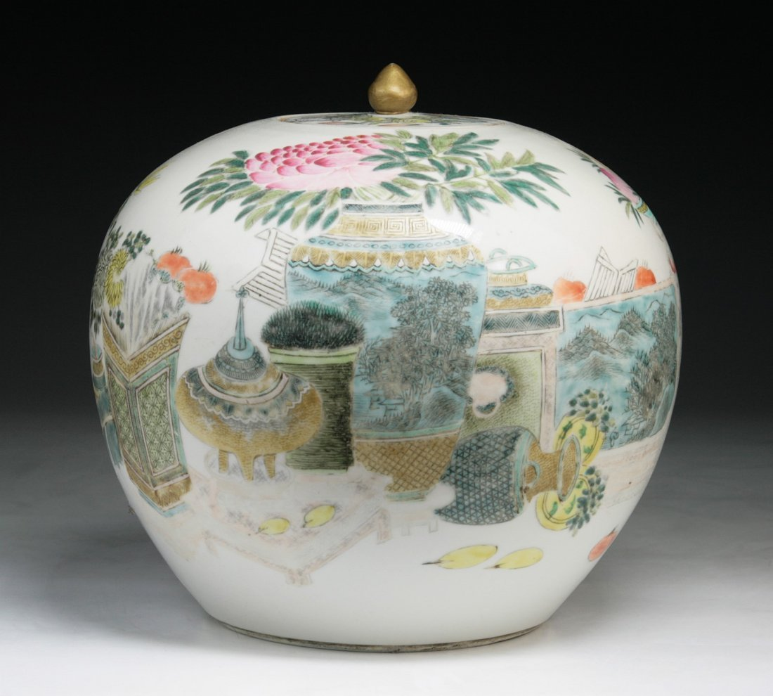 A Chinese Antique Famille Rose Jar  By Xu Pinheng