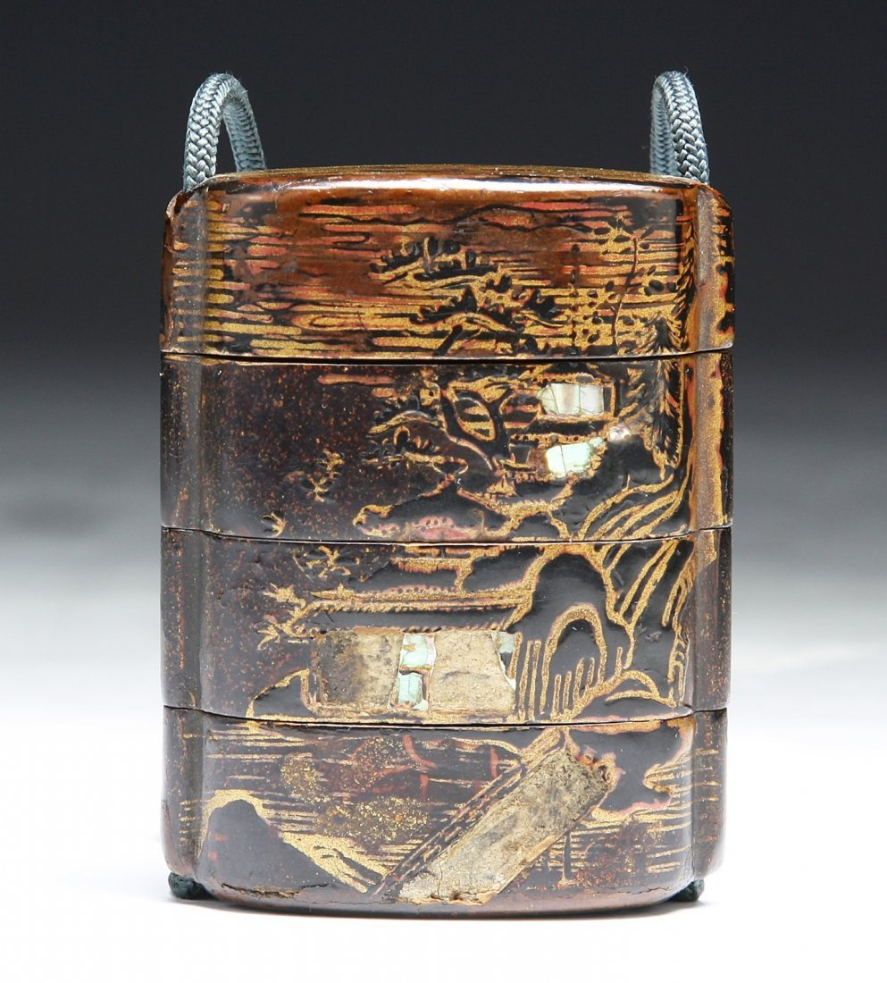 Antique Gilt Lacquer Four-Case Inro