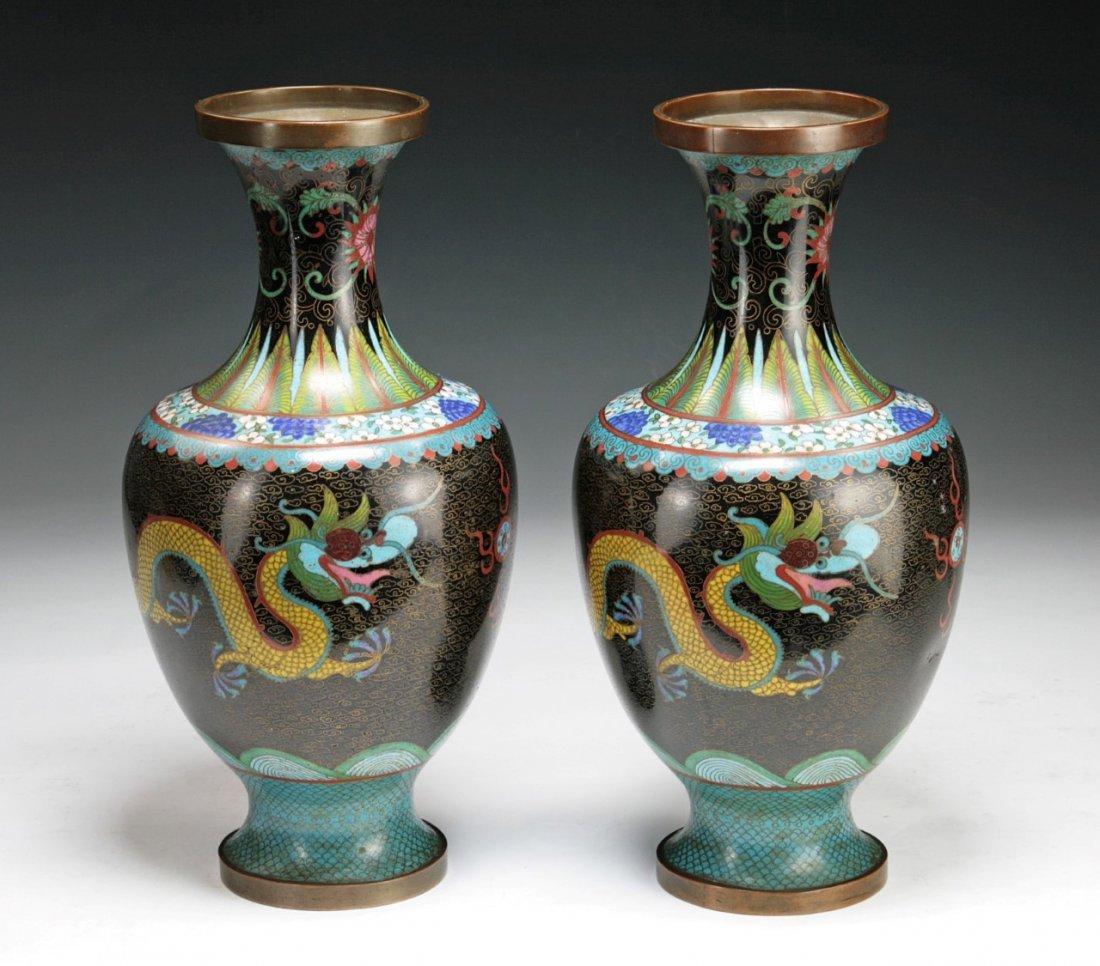 Pair Of Chinese Antique Cloisonne Bronze Vases