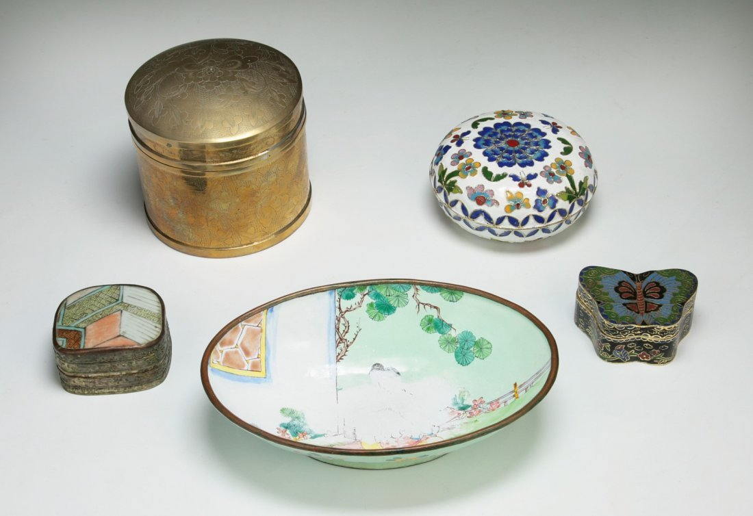 Five (5) Chinese Antique Cloisonne Items