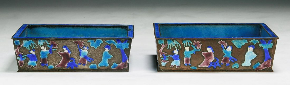 Pair Of Chinese Antique Cloisonne Silver Boxes