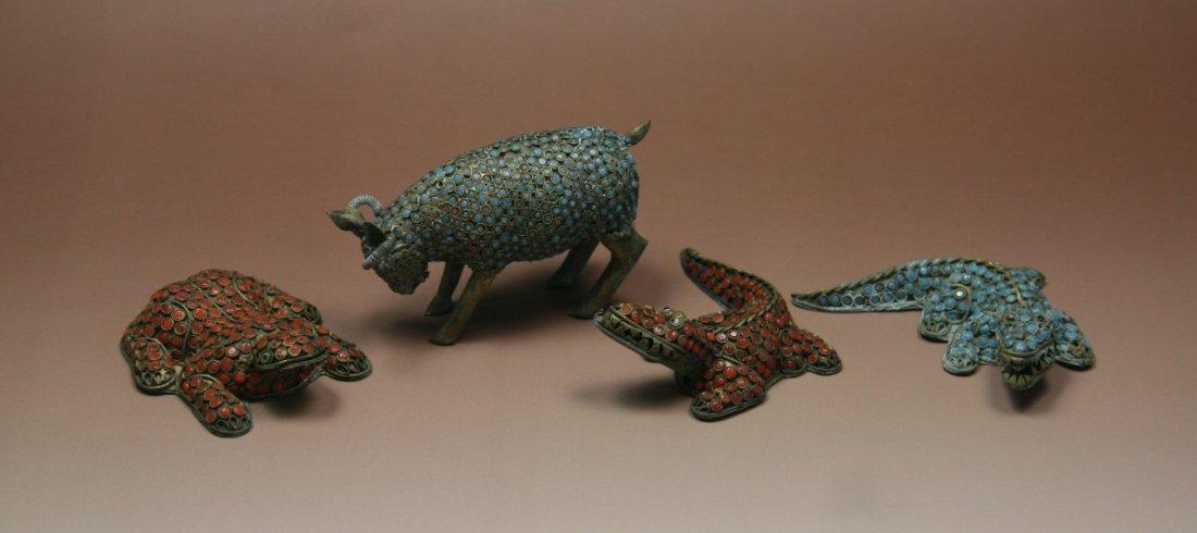 Group Of Four (4) Antique Bronze Filigree Animals