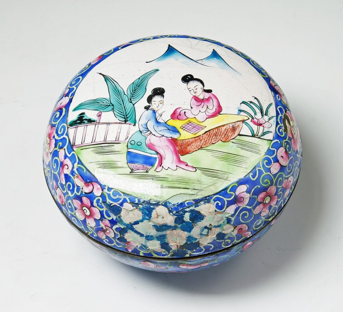 A Chinese Antique Cloisonne Bronze Box W Cover