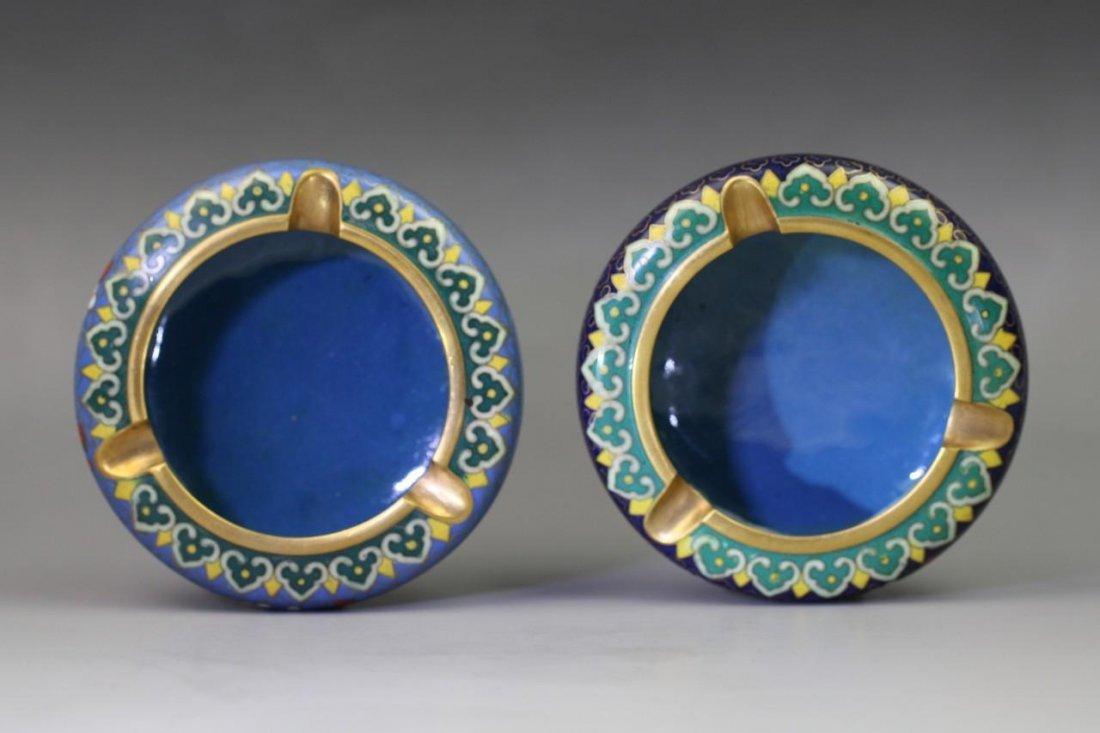 Pair Chinese Gilt-Brass Cloisonne Enamel Ashtrays