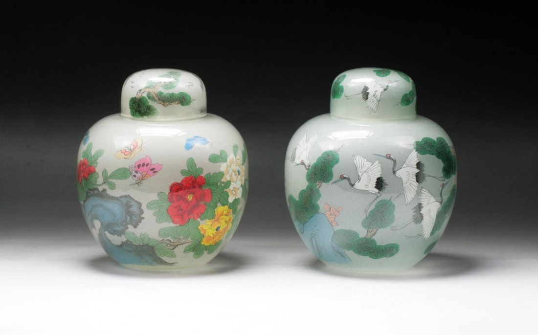 Pair Chinese Vintage Peking Glass Vases