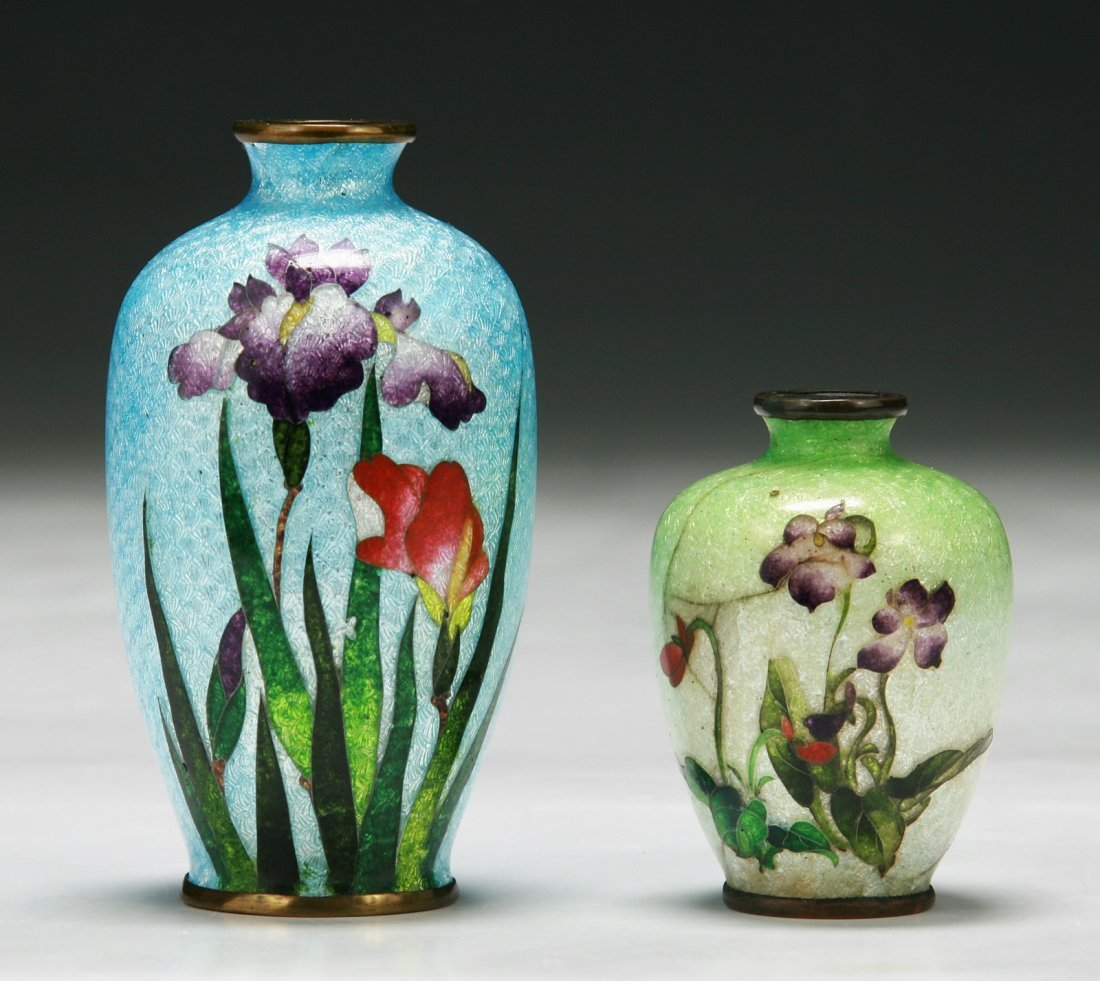 Two (2) Japanese Antique Silver Ando Cloisonne Vases