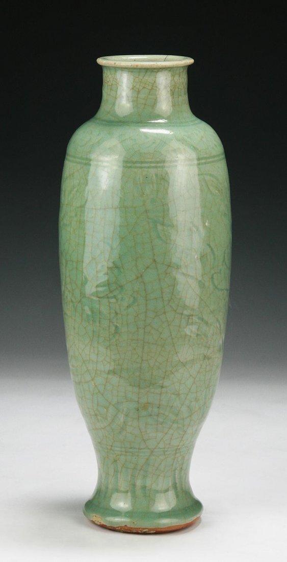 A Rare Antique Ming Longquan Celadon Glazed Vase