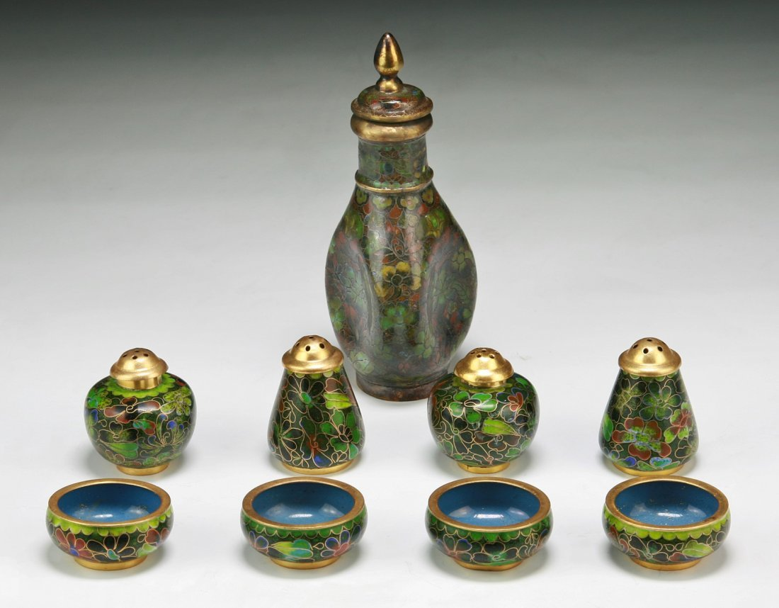 Group Of Nine (9) Chinese Cloisonne Bronze Items