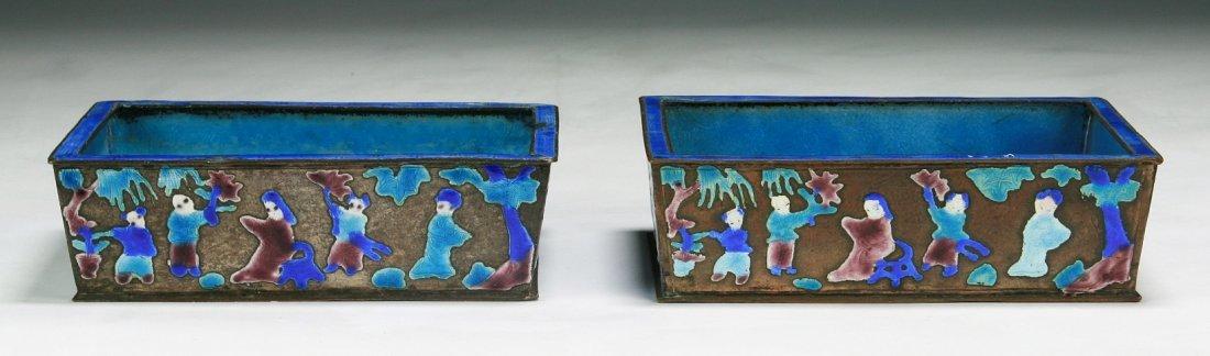 Pair Of Chinese Antique Cloisonne Blue Square Vases
