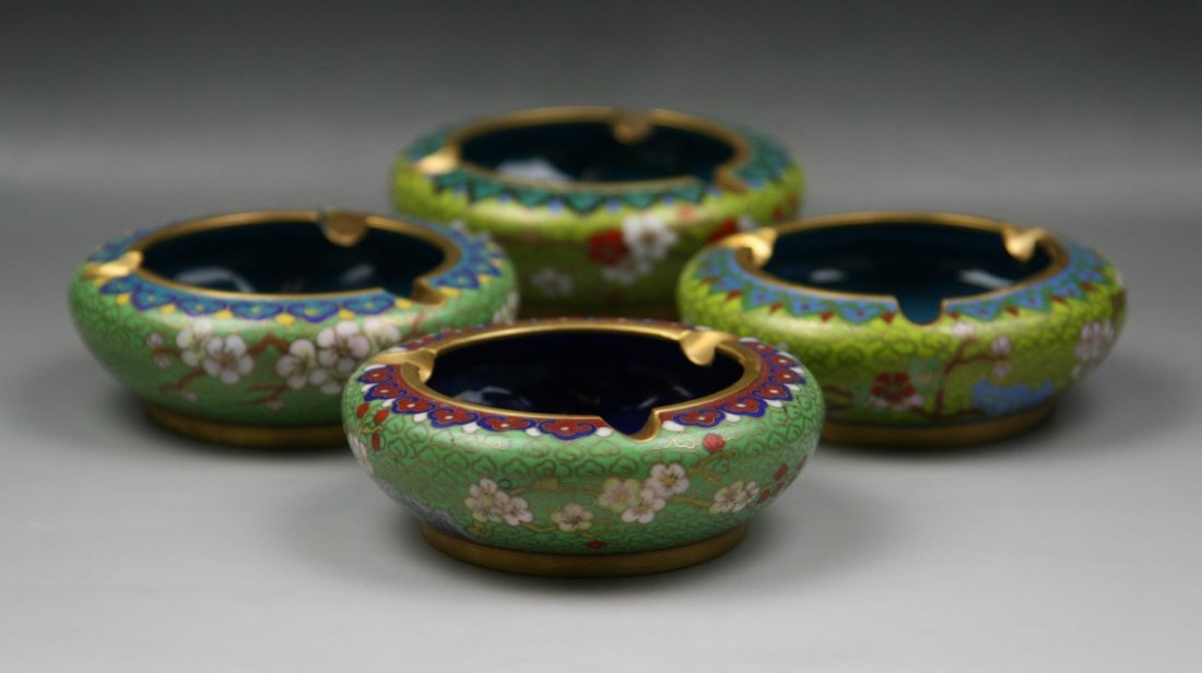 Group Four(4) Chinese Cloisonne Brass Ashtrays