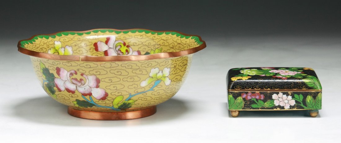 Two (2) Chinese Antique Cloisonne Bowl & Box W Cover