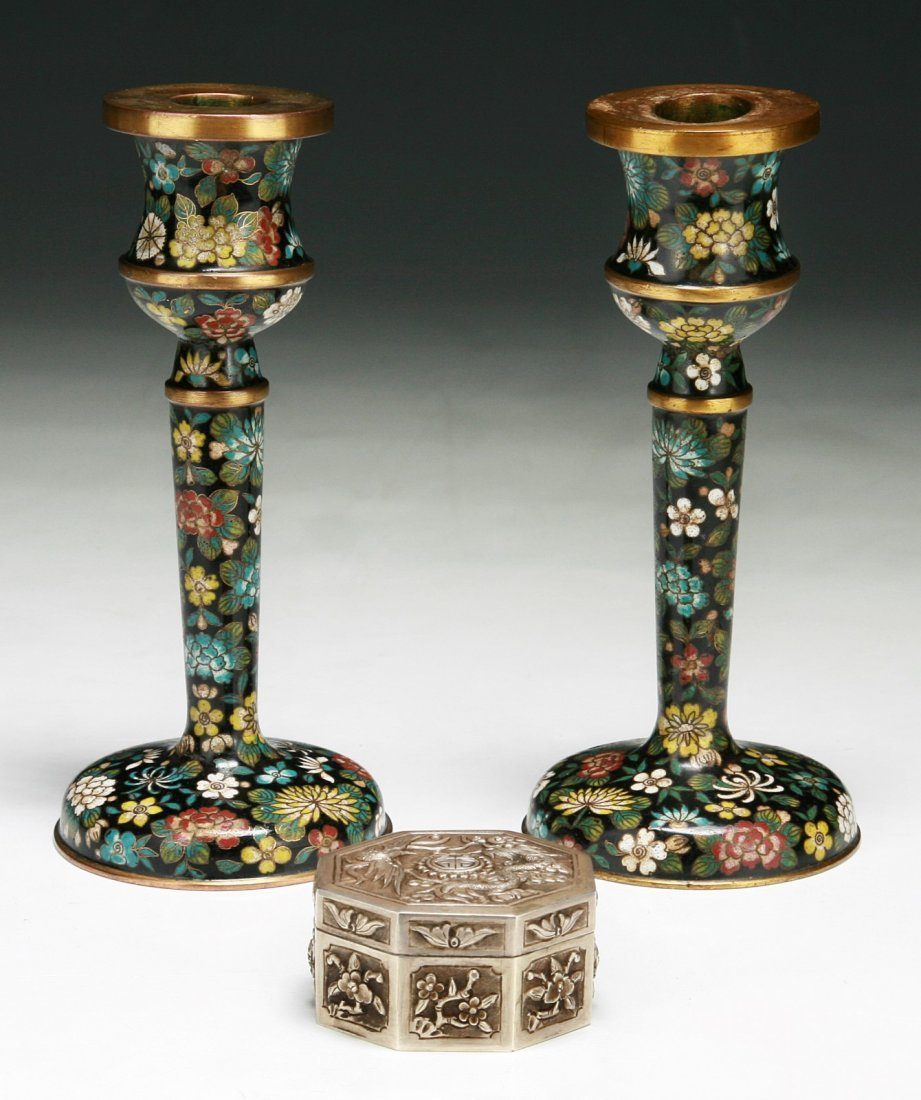 Three (3) Items: Pair of Cloisonne Candle Holders &