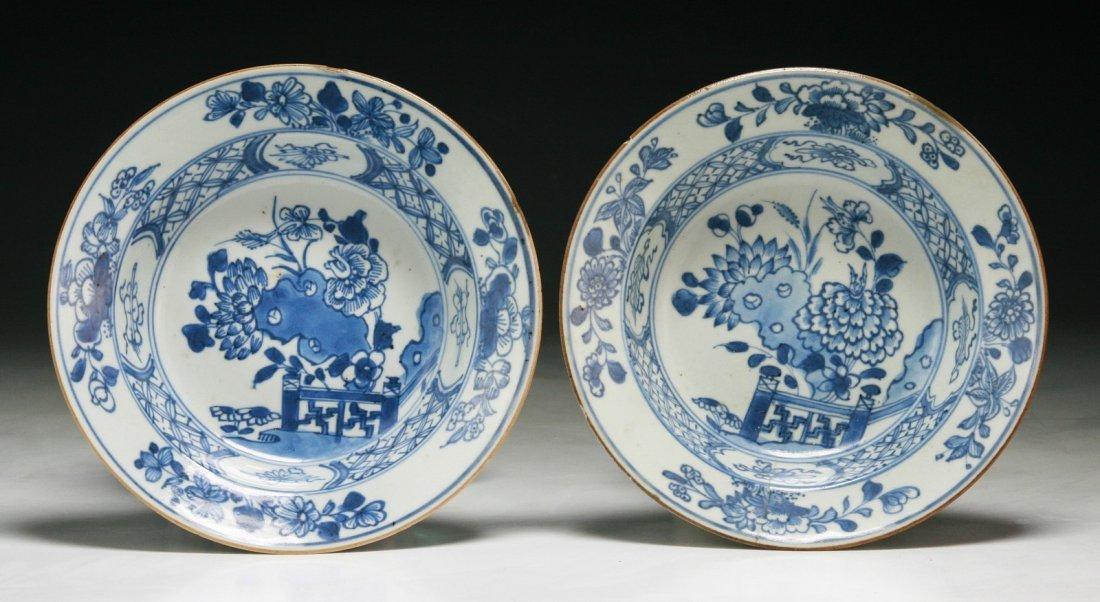 Pair Chinese Antique Blue & White Porcelain Bowls