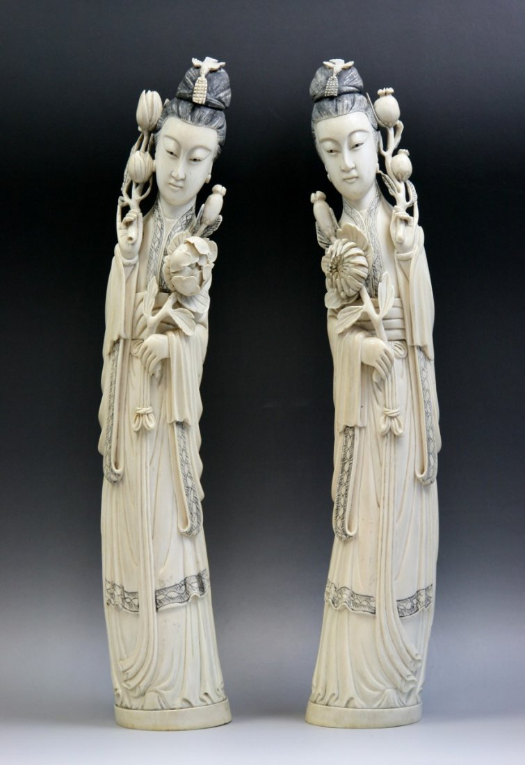 Pair Qing Chinese Carved Ivory Beauties