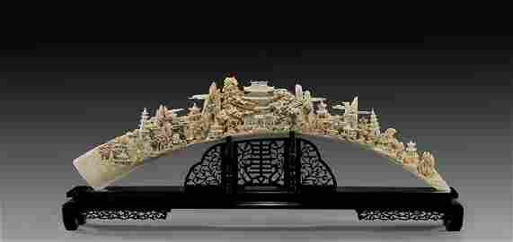 A Massive Superb Imperial Carved Ivory Bridge