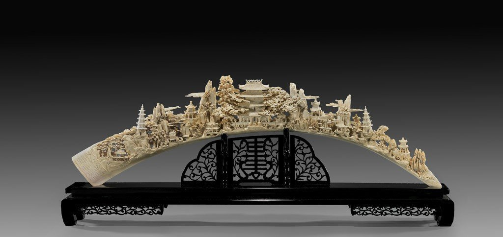 A Massive Superb Imperial Carved Ivory Bridge