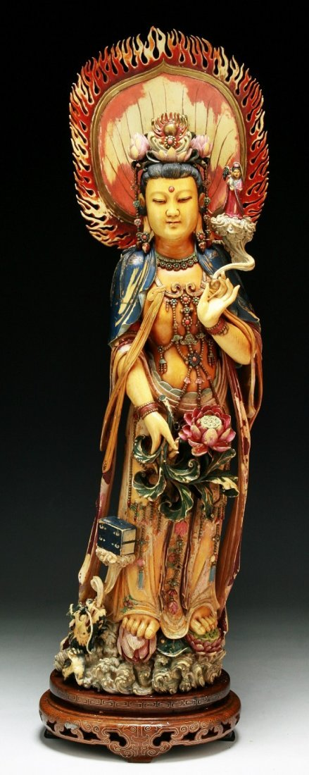 A Fine & Big Chinese Antique Polychrome Ivory Guanyin