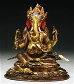 An Antique Gilt Bronze Figure Of Ganesha